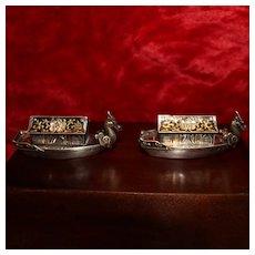 Japanese Dragon Boats in Sterling Silver Figural Salt & Pepper Shakers w/ Enamel