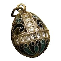 Russian Sterling and Enamel Egg Pendant With Crystals and Gold Vermeil Hallmarked Soviet Era