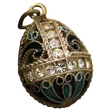 Charming Sterling and Enamel Egg Pendant With Crystals and Gold Vermeil