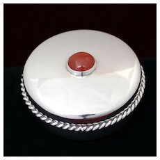 English Sterling Pill Box From Birmingham Late 20th Century With Agate Cabochon and Applied Border