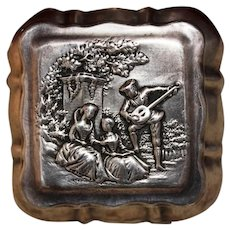 Early 1900's Trinket Box From UK Sterling Silver With Timeless Courtship Scene