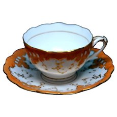 Antique Victorian Era English Teacups From Late 1800's UK With Vibrant Orange and Gold Pattern (Three Available)