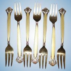 Sterling Dessert Forks With Lemon Enamel Guilloche Vintage Solid Silver Scandinavian Elegance