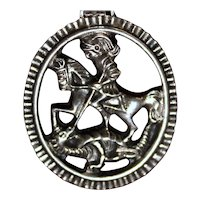 """Sterling Silver Sankt Georgen Medallion 2"""" Austrian Vintage Pendant With St George Knight and Dragon"""