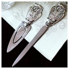 Vintage Gorham Sterling Owl Letter Opener With Figural Owl Handle and Stainless Steel Blade