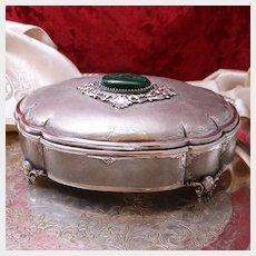 "Big Green Man Motif 800 Silver Box Italian Jewelry Casket 485 Grams and 7"" Malachite Cabochons From Milan Circa 1960's"