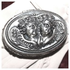 Breathtaking Sterling Henryk Winograd Box With Gorgeous Pair of Cherubic Angels
