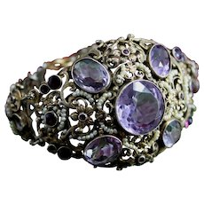 Breathtaking Antique Austro Hungarian 800 Silver Bracelet, Circa 1877, By Daniel Löwy of Vienna with Gemstones and Seed Pearls