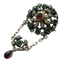 Antique Hungarian Solid 800 Silver Pendant Brooch Two-in-One Beautiful Versatile