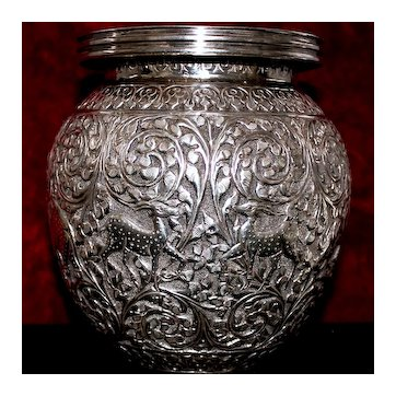 LOVE VASE! Elephants! Tigers! Deer! Horses! Whimsical Pairs of Animals in Love Surround Opulent Sterling Vase From India!