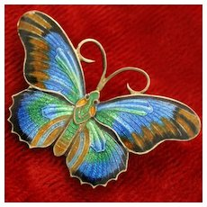 Sterling Butterfly With Iridescent Blue Enamel Guilloche Wings Made Circa 1970 So Vintage and Vibrant