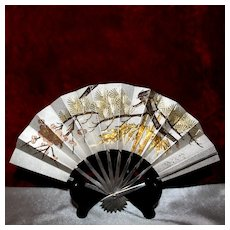 Sterling Silver Japanese Fan With Exceptional Details, Gold and Rose Gold Embellishment