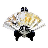 "6"" Sterling Japanese Fan With 22K Gold Embellished Chrysanthemum and Cherry Blossoms, Artist Signed"