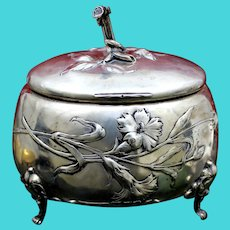 Art Nouveau 800 Silver Box With Organic Style, Repousse Flowers and Light Gold Vermeil