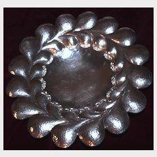 """Big 11"""" Austro-Hungarian Jugendstil 800 Silver Hand Hammered Bowl With Gustav Klimt Style Swirls, Elegant  Serving Piece"""