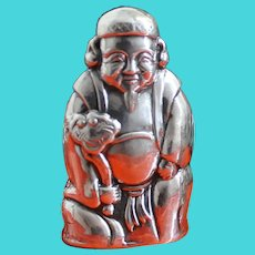Lucky Jurojin Japanese Sterling Salt & Pepper Shaker, He Brings Good Fortune