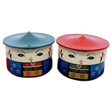 Kokeshi Bento Boxes 3 Pieces With Separate Sections For Lunch or Small Item Storage