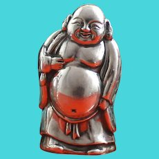 Vintage Japanese Laughing Buddha Sterling Salt & Pepper Shaker, Brings Good Fortune & Free Shipping This Month