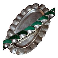 "Handsome Mexican Sterling Malachite Inlaid Bracelet 8"" Heavy Gorgeous Well Made"