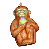 Sterling Chinese Monkey Figurine,  Enameled and Holding Peach of Immortality