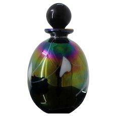 Murano Hand Blown Glass Fabulous Iridescent Perfume Bottle From Italy