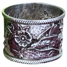 Victorian Era Sterling Napkin Ring With Bird, Blossoms and Butterfly in Japonaiserie Style From UK