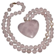 14KT and Rose Quartz Heart and Beads Necklace With Cultured Pearls and 14KT Gold Beads and Clasp