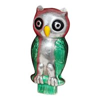 1960's Sterling Figural Owl Box With Green Feathers in Enamel Vintage Italian Trinket or Pill Box