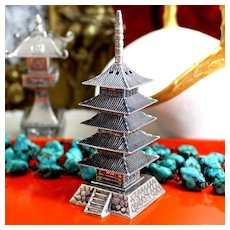 950 Sterling Pagoda Shaker From Japan Vintage 1950's Silver Salt and Pepper Shaker With Excellent Textural Detail