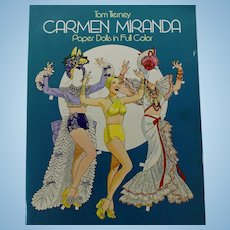 Carmen Miranda Book of Paper Dolls Fashions in Color By Tom Tierney