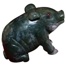 Chinese Agate Pig Figurine With Silver and Amethyst Eyes