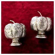Sterling Pumpkin Salt and Pepper Shakers From Mexico Figural Vintage Charmers