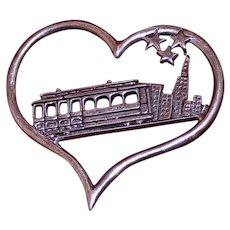 "Sterling De Matteo ""I left My Heart in San Francisco"" Tony Bennett Song Lyrics Inspired Silver Pin With Heart, Cable Car and Stars"