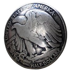 1945 Sterling Coin Knob With American Eagle 74 Year Old Walking Liberty Half Dollar