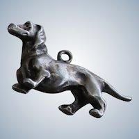 835 Silver Dachsund Vintage Silver Dog Charm for Bracelet