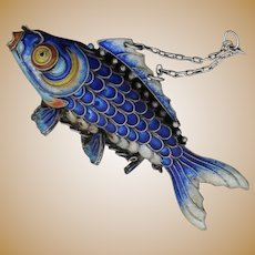 Silver Chinese Articulated Koi Fish Ornament Lucky Carp With Excellent Blue Enamel Cloisonne