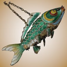 Silver Chinese Articulated Koi Fish Ornament Lucky Carp With Excellent Green Enamel Cloisonne
