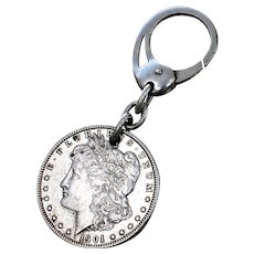 1901 Silver Morgan Dollar With Key Chain Antique Coin With Liberty Fob On 800 Silver Ring