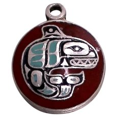 Sterling Killer Whale Charm With Pacific North West Inuit Orca for Bracelet 1960's BMCO