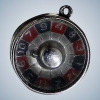 1960's Sterling Roulette Wheel Charm for Bracelet Ball Spins Around