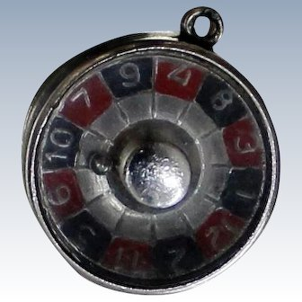 1960's Sterling Roulette Wheel Charm for Bracelet Ball Spins Around