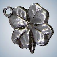 1940's Sterling Four Leaf Clover Clover Charm For Bracelet Nice Shamrock for St Patrick's Day