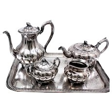 Silverplated Tea Set With Classic Melon Design Tea Pot Coffee Pot Cream and Sugar and No Tray
