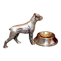 "English 1980's Novelty Sterling Silver Plated Boxer Dog Salt Cellar, 4.75"" in Long Figural Miniature With Minty Silverplate"