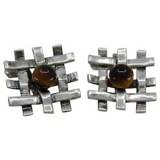 Ming's From Hawaii Sterling Cufflinks With Tiger's Eye over Hawaiian Bamboo