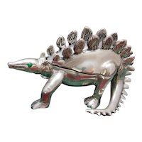 Sterling Stegosaurus Dinosaur Box Solid Silver Artisan Hand Made One of a Kind