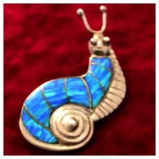 Sterling Snail With Opal Inlay Shell Can Be Worn as Pendant or Brooch With Whimsical Design