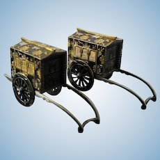Sterling Japanese Carts With Rolling Wheels Enameled Salt Pepper Shakers