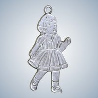 Sterling Little Girl Charm Shirley Temple Era 1930's Silver