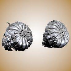 "Sterling Silver ""Long Life"" Chrysanthemum Japanese Salt Pepper Shakers Exquisite"